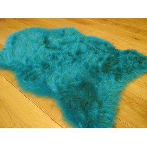 Teal Blue Faux Fur Sheepskin Style Rug 70cm X 100cm Co