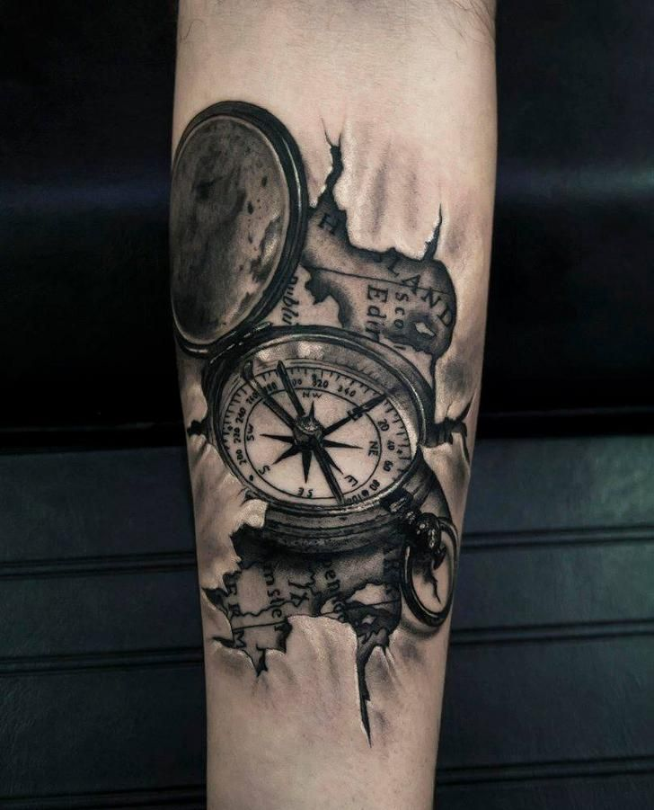 bf545e58814ea 3D Compass & Map by Dio at Thirio Studio Athens,Greece | Tattoo ...