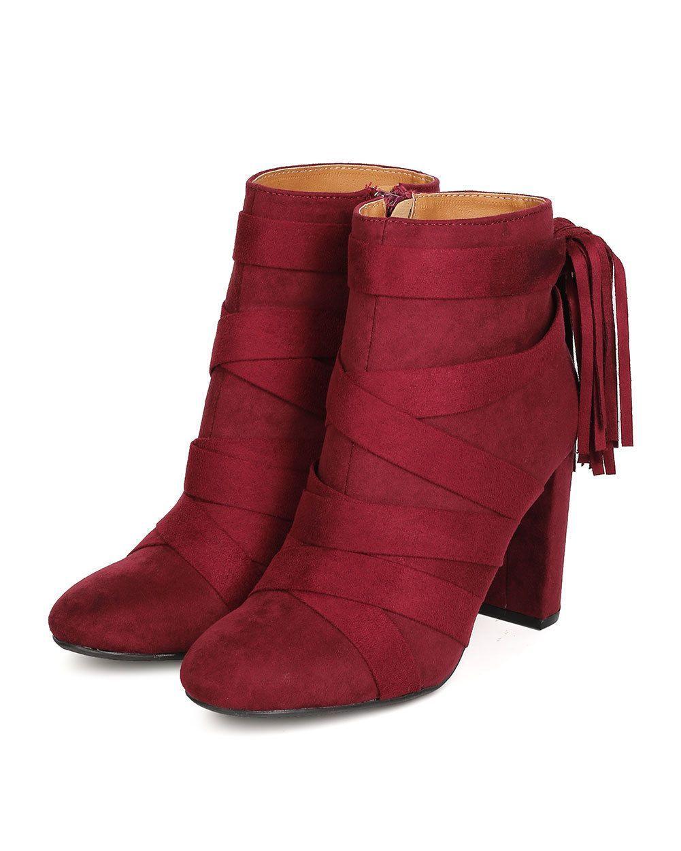 Women Qupid York-17 Faux Suede Wraparound Tasseled Chunky Heel Bootie