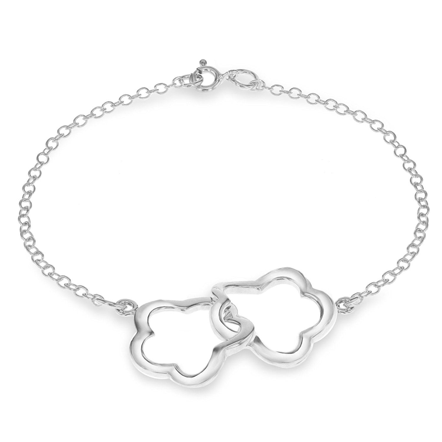 Tuscany Silver Sterling Silver Hearts and Stars Bracelet of 18cm/7 QSgGLFoGXL