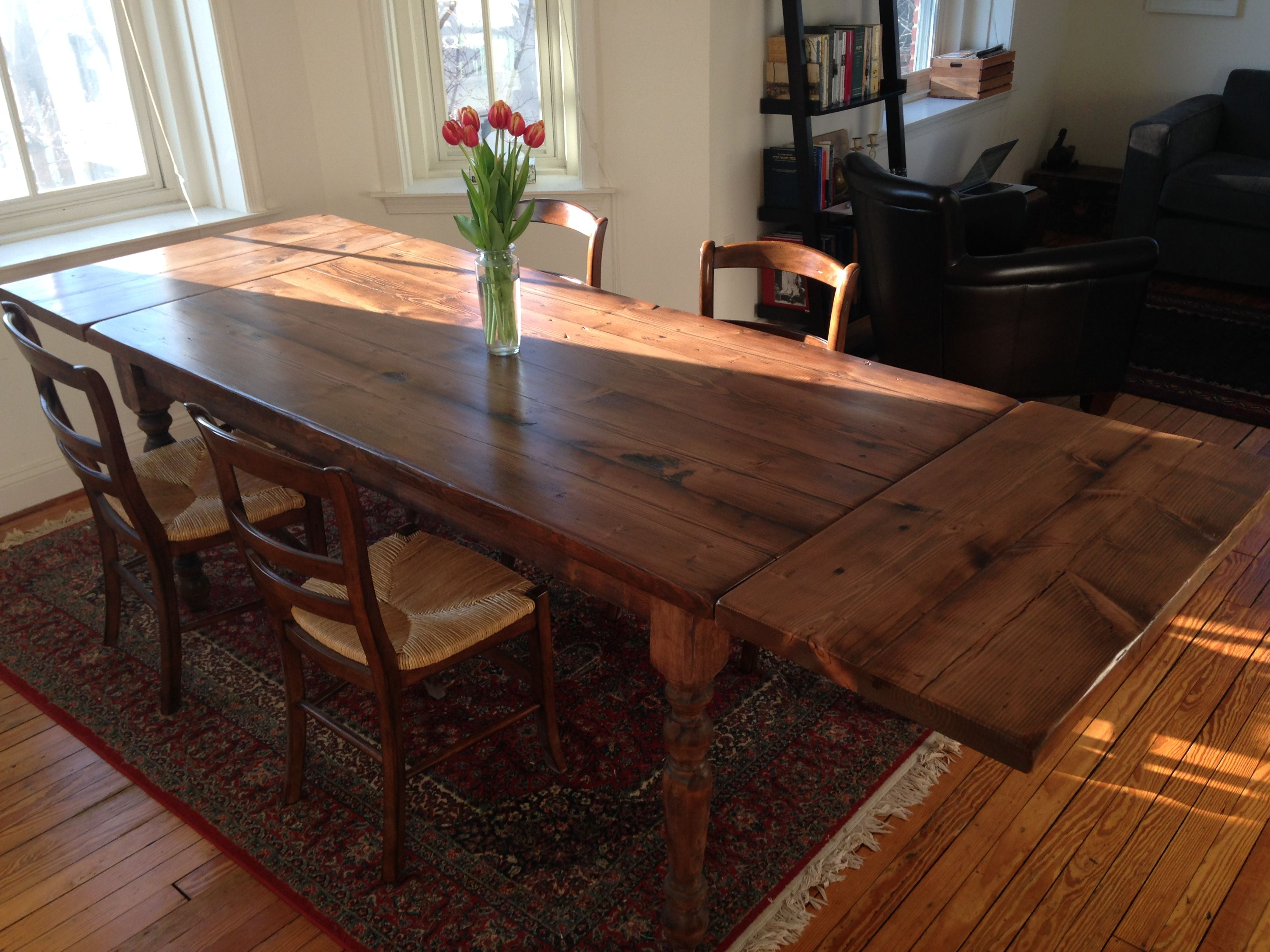 Reclaimed Wood Farm Table With Turned Columns And End Extensions