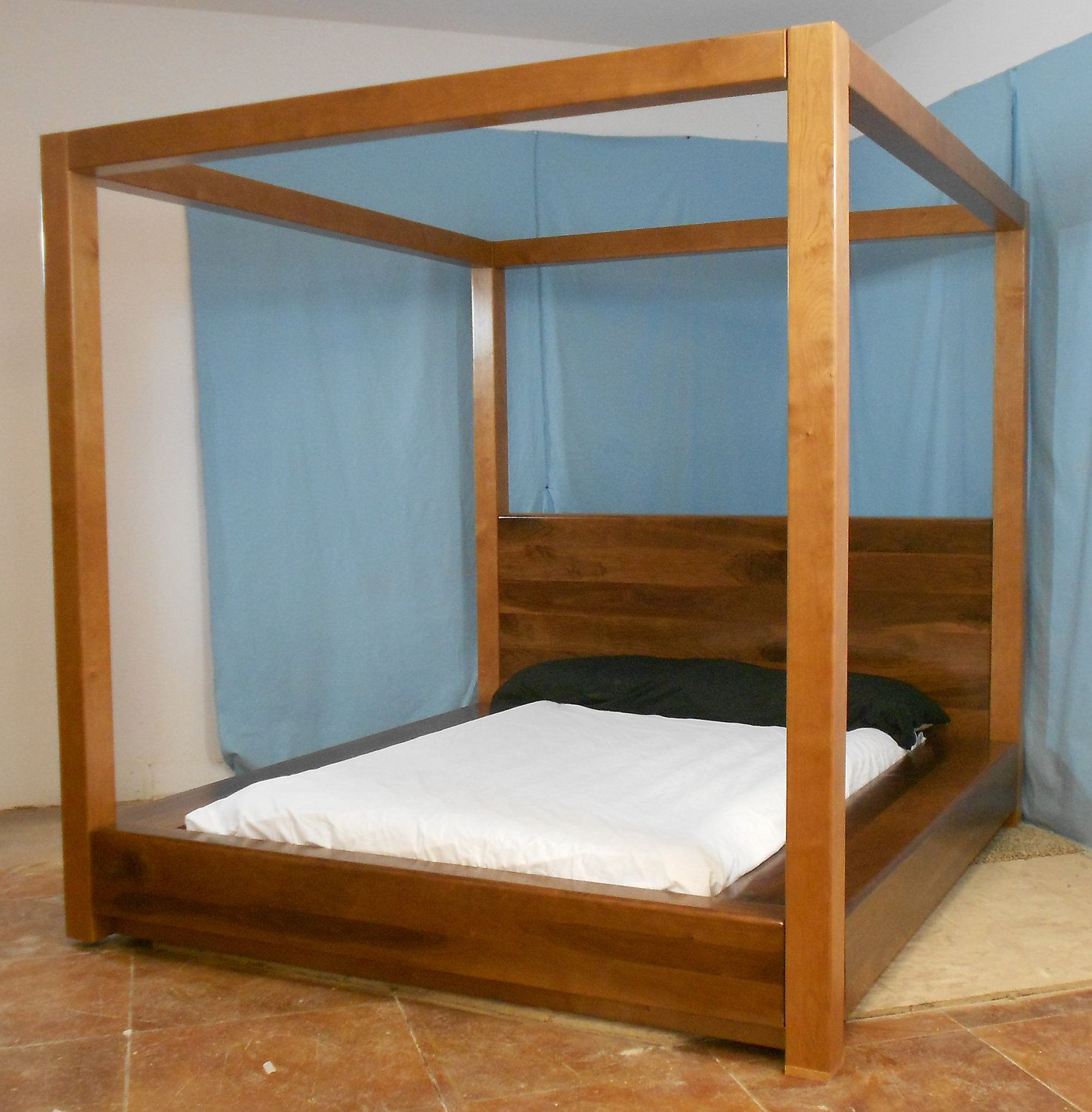 1,745.00 Danish, modern canopy bed Wood canopy bed