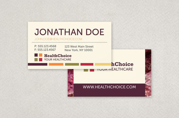 Healthcare Business Card Template  A Colorful Gem Toned Business