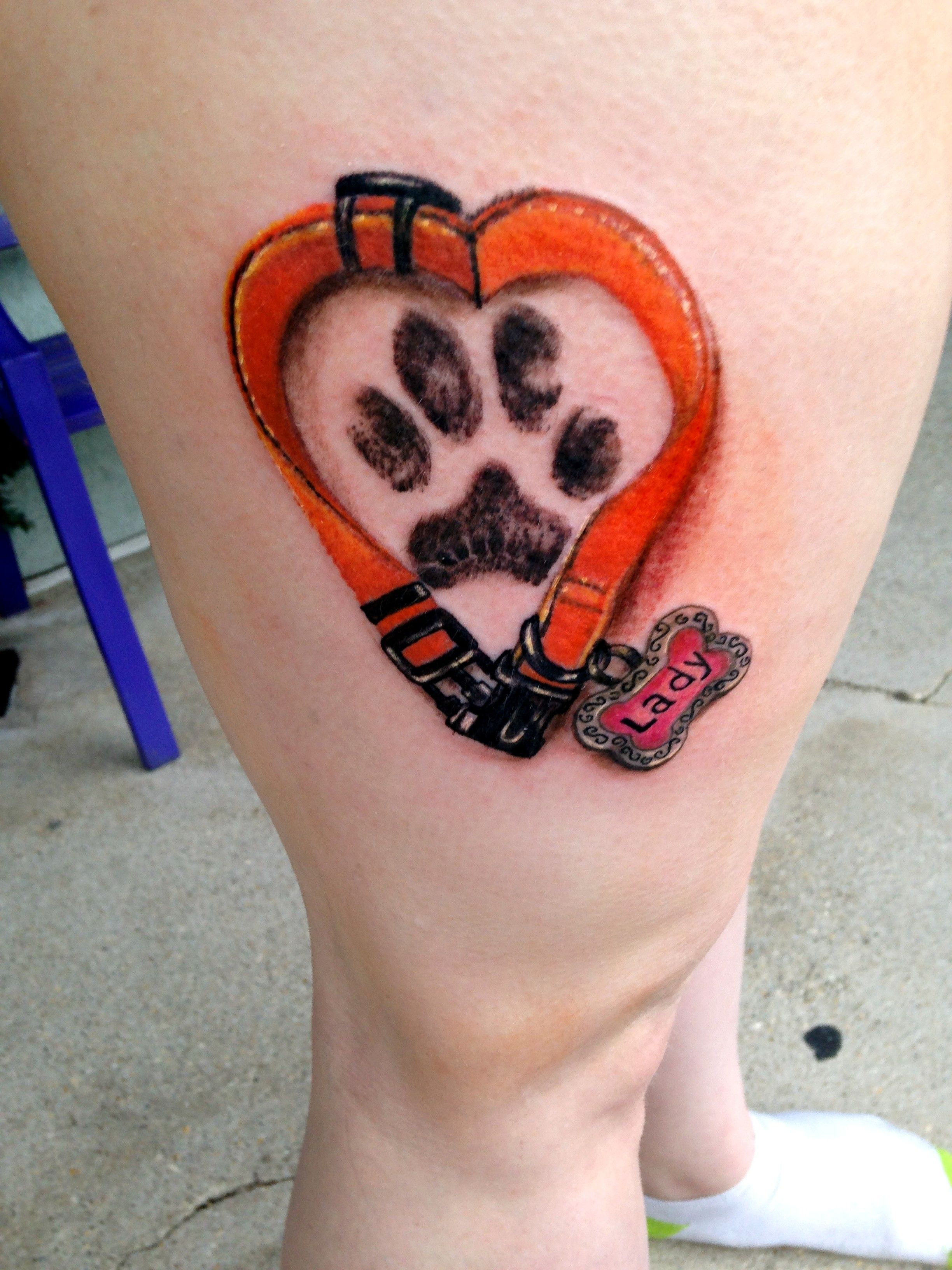 dog collar paw print tattoo by diane lange at moonlight. Black Bedroom Furniture Sets. Home Design Ideas