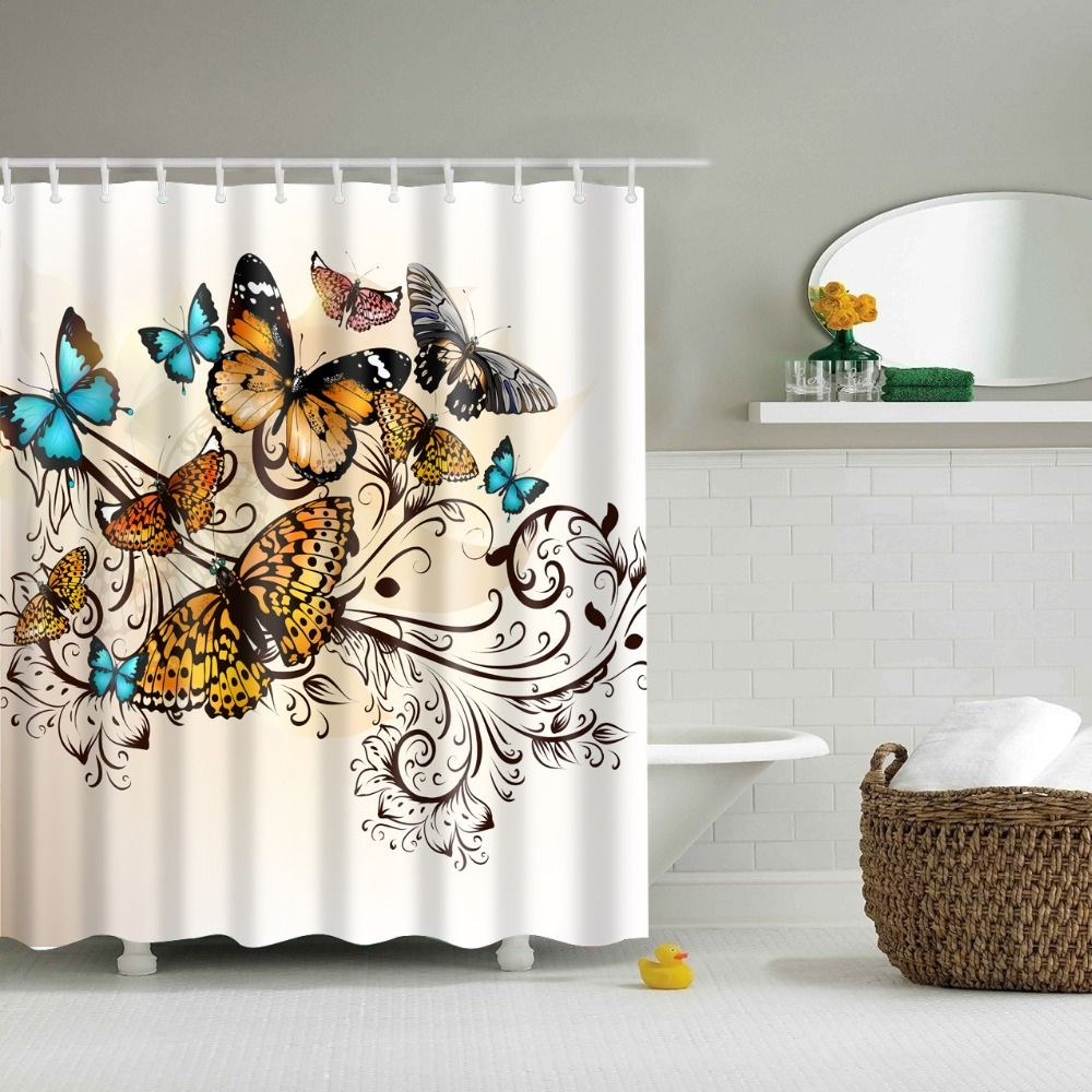 Butterfly Printed Shower Curtain Waterpfoof Polyester New 2017 Hot Sale Bathroom Shower Curta Butterfly Shower Curtain Animal Shower Curtain Shower Curtain Art