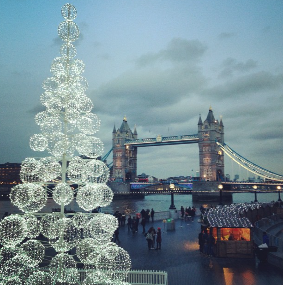 large LED ball motif christmas tree near tower bridge ...