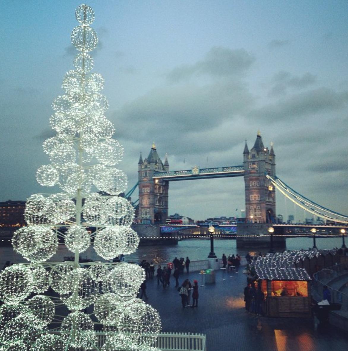 large LED ball motif christmas tree near tower bridge