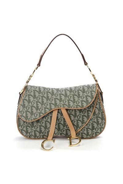 1b19bf4633ac Christian Dior Green Diorissimo Canvas Double Saddle Bag - Photo 1 ...