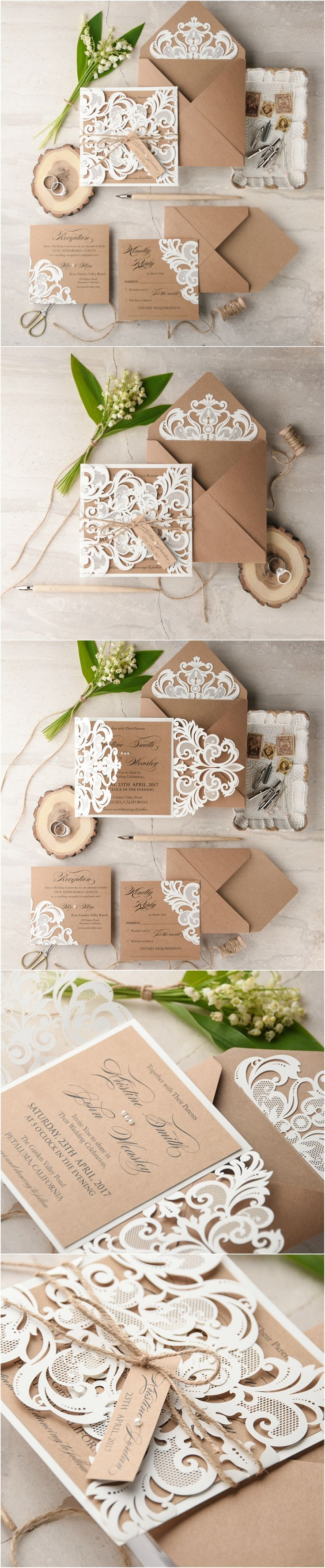Laser cut lace rustic romantic wedding invitations from