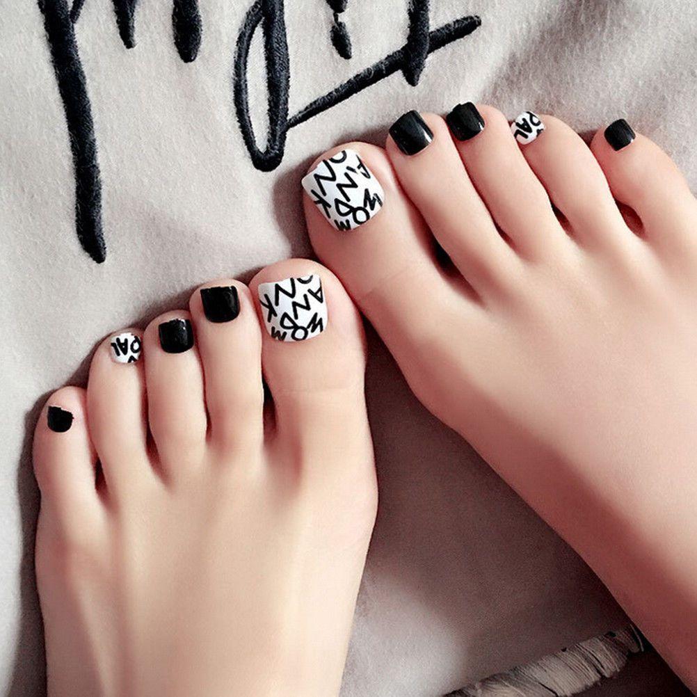 $2.39 - 24Pcs Foot False Nail Tips Black Fake Toes Nails With Glue ...