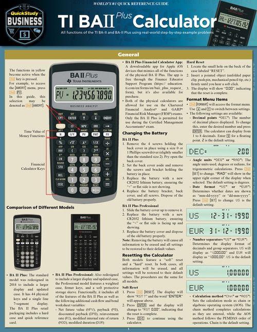 QuickStudy TI BA II Plus Calculator Laminated Reference