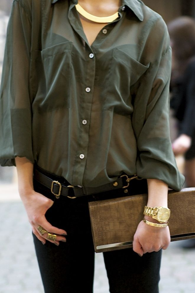 dark green shirt, black pants, gold and brown accessories | She's ...