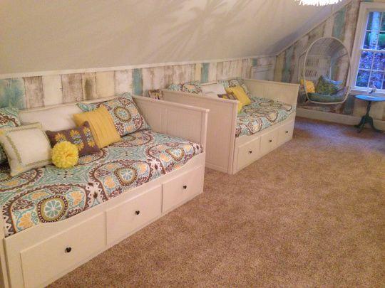 Pier 1 swingasan in a teen girls lounge space with ikea for Teenage bunk beds ikea