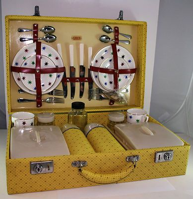 Vintage 'Sirram' Picnic Set circa. 1950s in Yellow Case