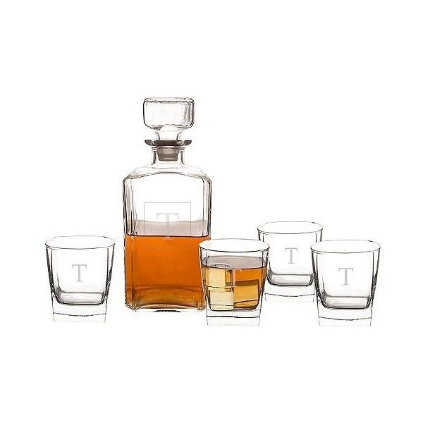 Cathy's Concepts 5pc. Personalized Decanter Set-T, Clear ($68) ❤ liked on Polyvore featuring home, kitchen & dining, bar tools, clear, engraved decanter set, engraved decanter, personalized decanter, monogrammed decanter and personalized decanter set