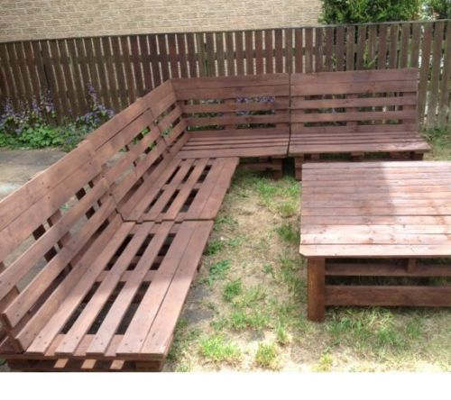 Garden Furniture Slanted Back Corner Unit Diy Pallet Furniture Pallet Furniture Outdoor Pallet Furniture Easy