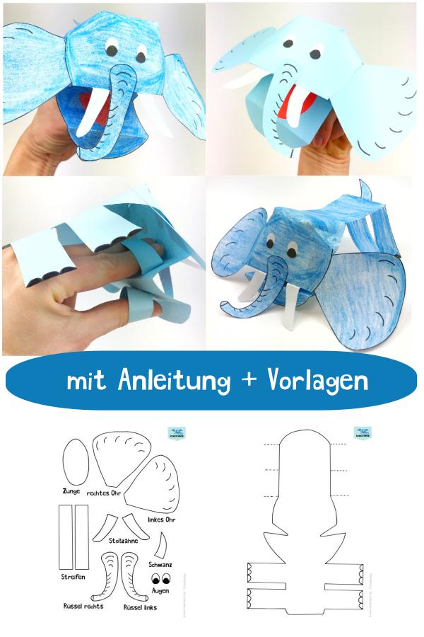 Elefanten Basteln Fingerpuppe Aus Papier Tiere Basteln Elefant