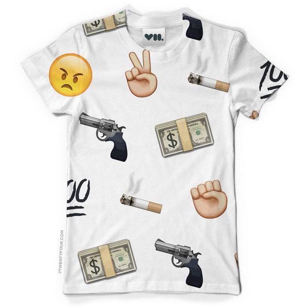 Killa Emoji T-Shirt - Unisex - Dye Sublimation - Money - Gun ($52) found on Polyvore