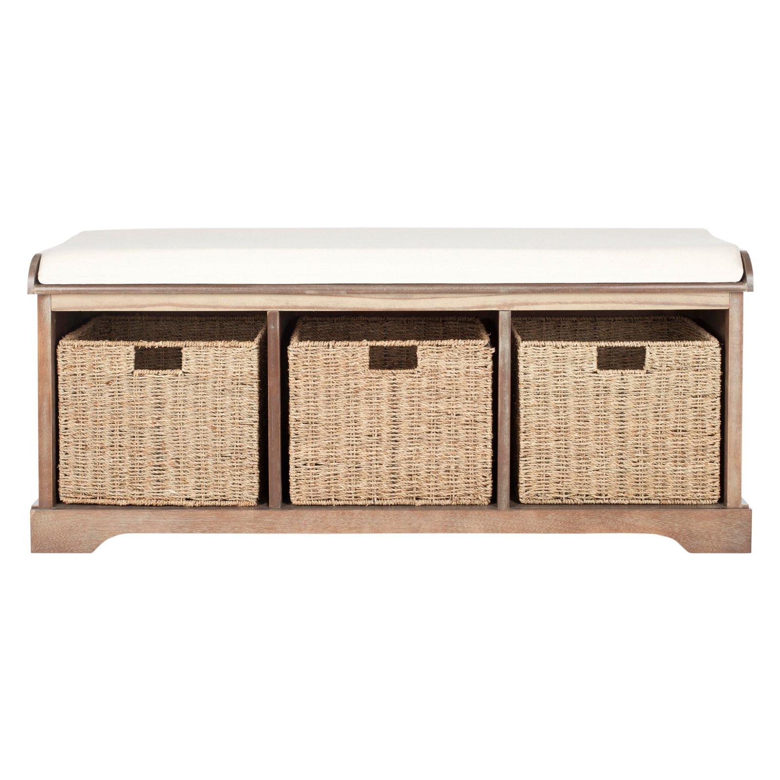 Safavieh Lonan Wicker Indoor Storage Bench Indoor Storage Bench