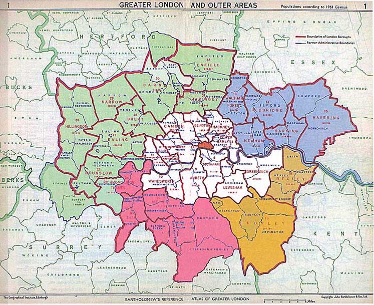 City Of London On Map.Detailed Map Of London Suburbs Essex Brought Into Greater London