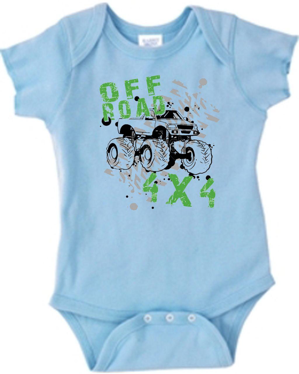 36383864e Monster Truck Off Road Baby Onesie For Boys | U.S. Custom Kids ...