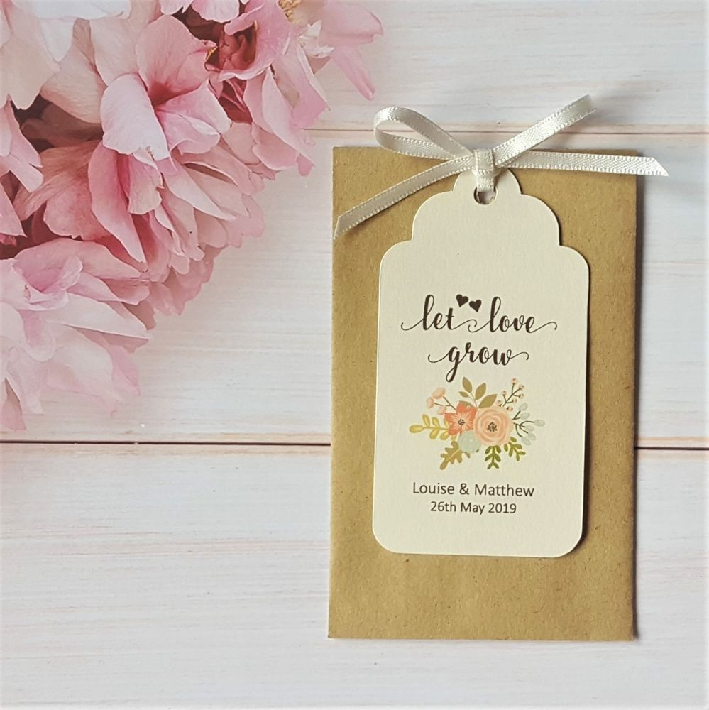 Personalised Wedding Favour Seed Packet Envelopes & Tags ...
