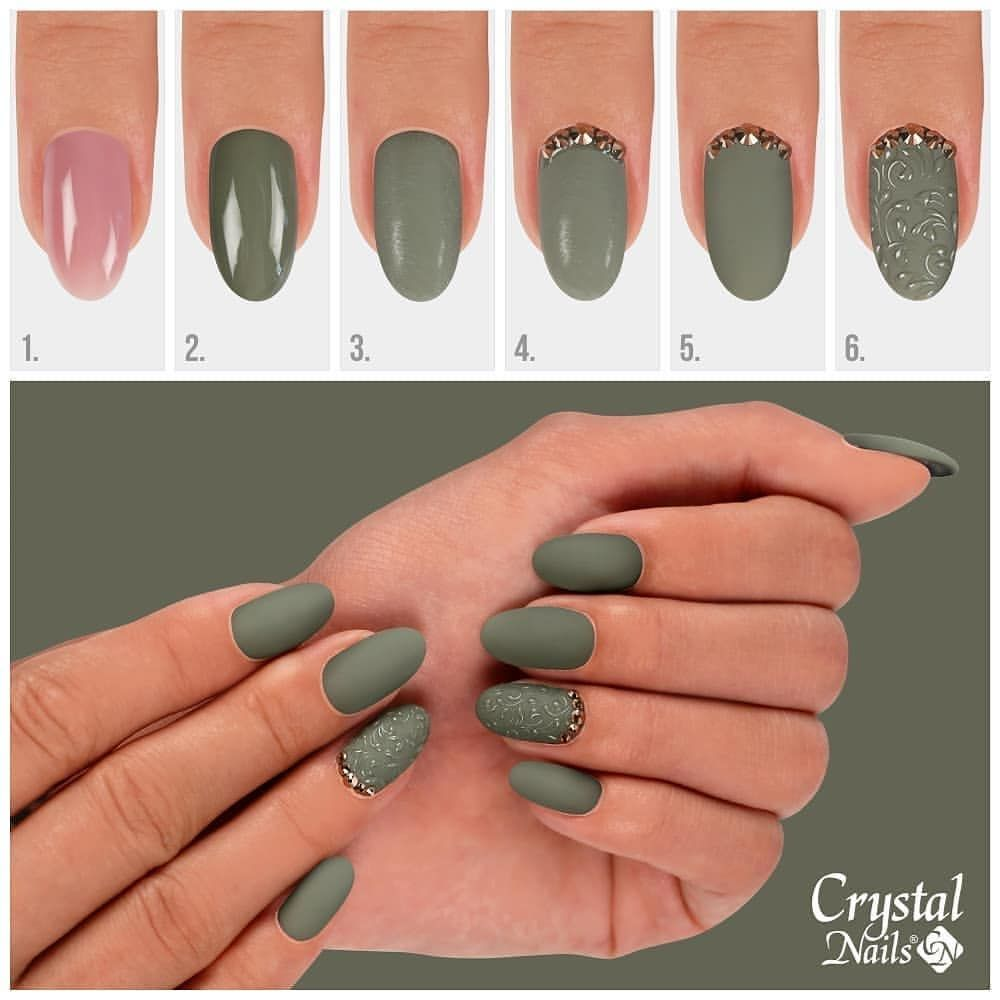 Regran Ed From Crystal Nails Official One Step Crystalac Military Green Step By Step 1 Push Back The Cuticles Remove Crystal Nails Green Nails Nails