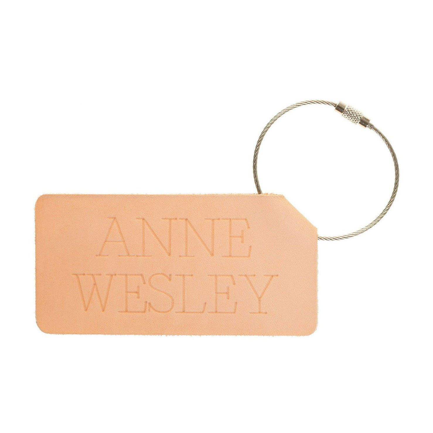 Personalized Folded Leather Luggage Tag - Reversible | Leather ...