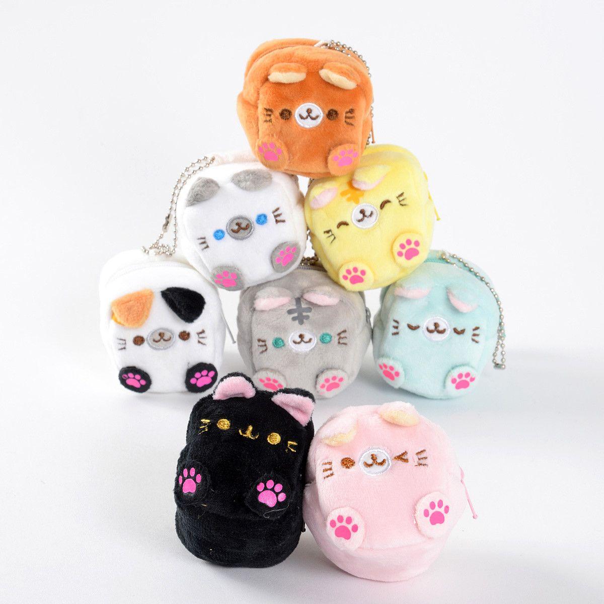 Square Cat Plush Coin Cases Cat Plush Cute Mini Backpacks Cat Coin Purse [ 1200 x 1200 Pixel ]