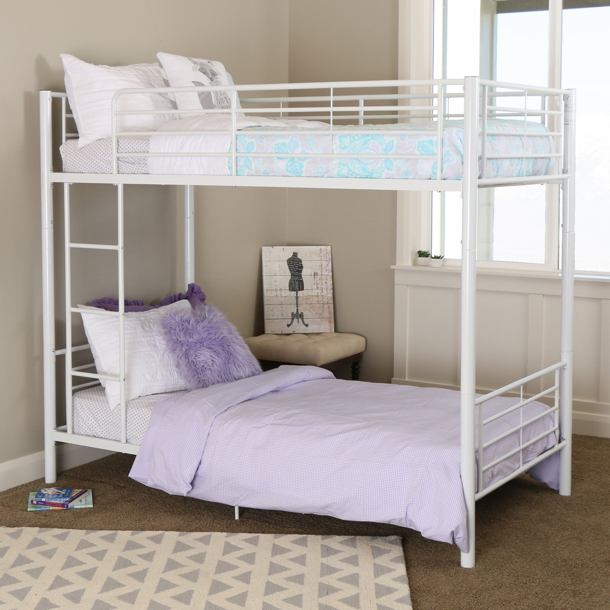 Twin Over Twin White Metal Bunk Bed White Bunk Beds Twin Bunk Beds Bunk Bed Designs