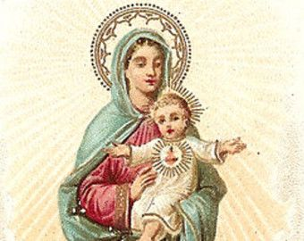 Our Lady the Sacred Heart & Baby Jesus Antique French Holy Prayer Card, Bookmark, Chromolithograph from Vintage Paper Attic