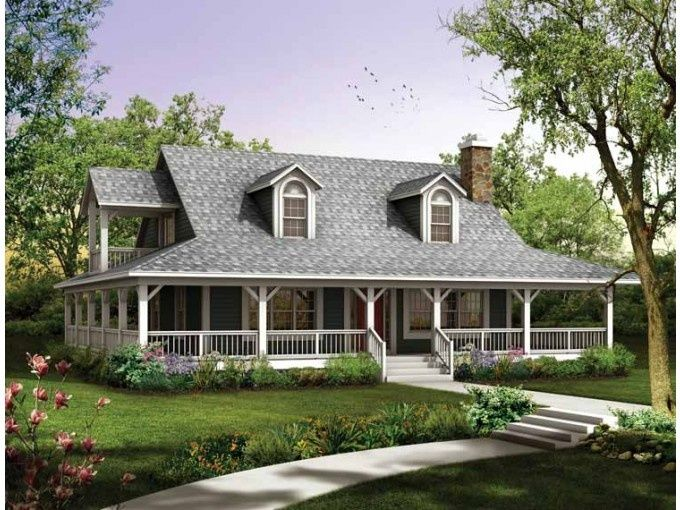 Single Story Farmhouse With Wrap Around Porch Square Feet  Bathroom Farmhouse Home With  Garage Bays Dream Home Pinterest Wrap