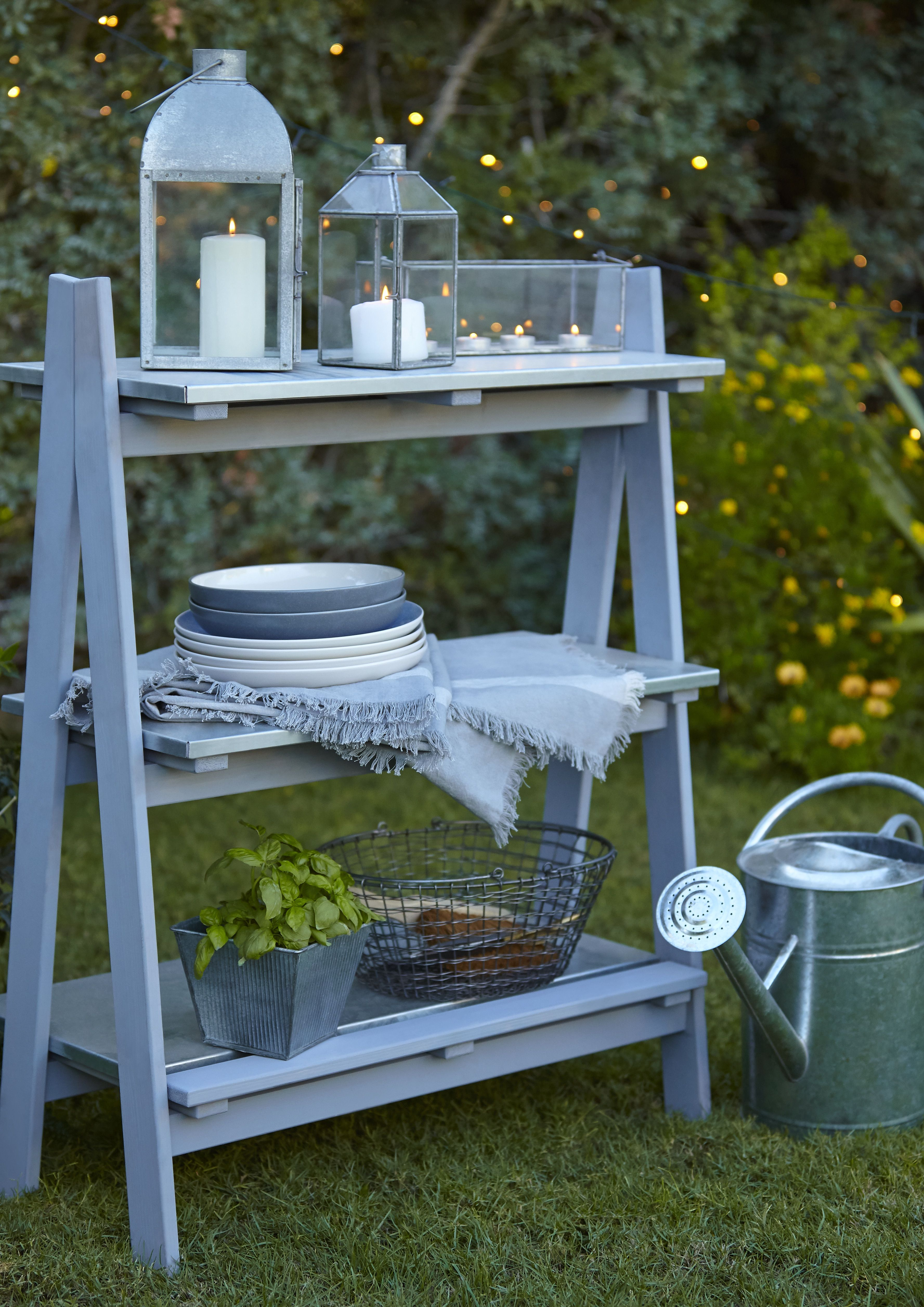 Stylish Shelving B Q S New Rural Outdoor Collection Comprises Of This 3 Shelf Shelving Unit Filled With Outdoor Wood Projects Garden Shelves Garden Furniture