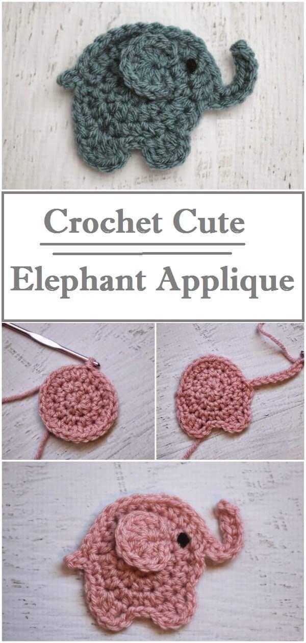 Crochet Elephant Applique #crochetapplique