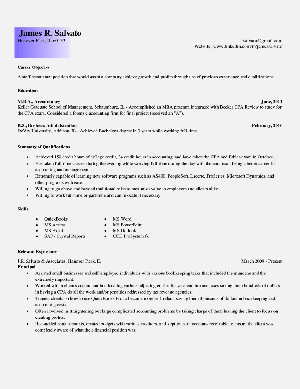 information resume entry