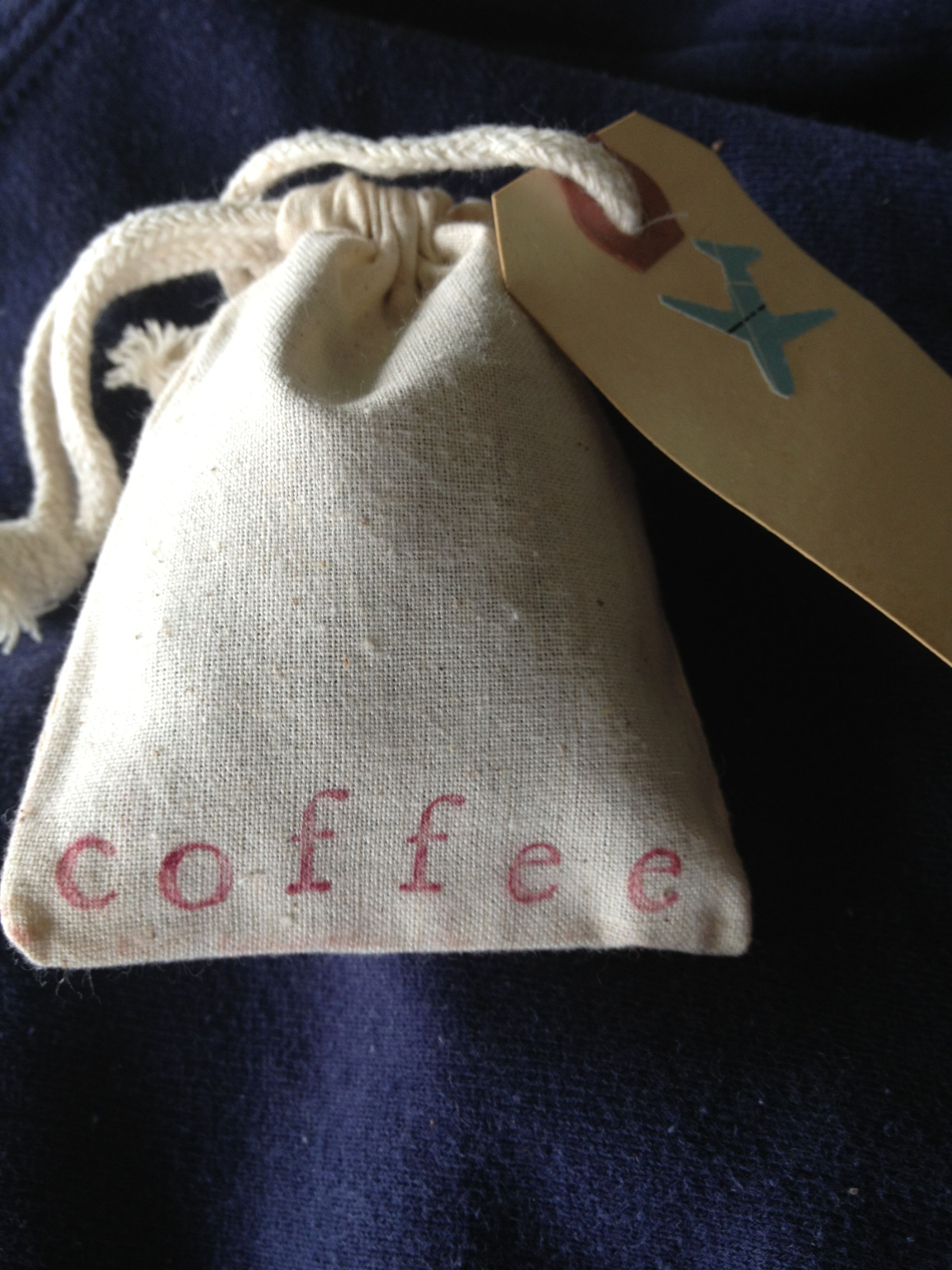 Super Easy Inexpensive Wedding Favor Or Card Muslin Bag With Whole Bean Coffee