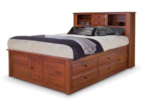 Bookcase Headboard Captains Bed, Queen Captains Bed With Bookcase Headboard