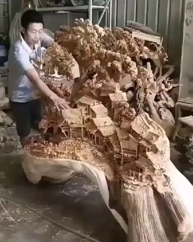 Hand Carved Wood Sculpture