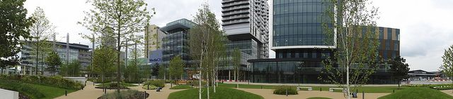 MediaCityUK, home of the BBC and directly adjacent to the Imperial War Museum, the Lowry, and Old Trafford, Salford, Manchester, England, United Kingdom, 2011, photograph by Martin Orme.