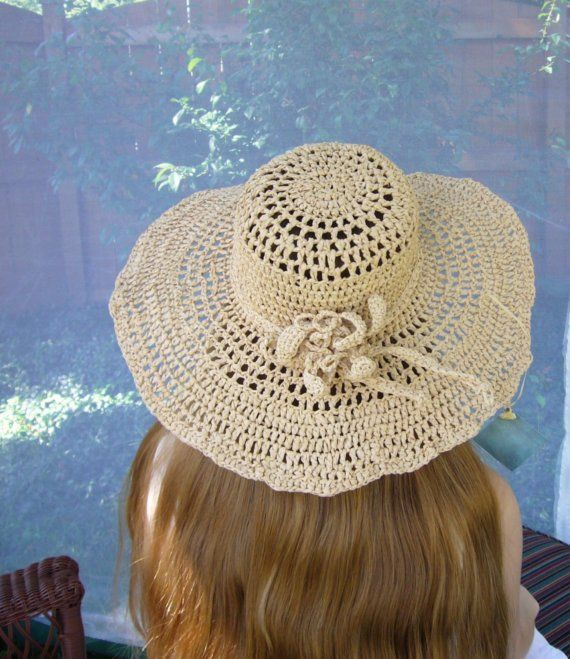 a09fa29a88b WOMENS SUMMER SUN HAT raffia straw natural tan vintage pattern ...