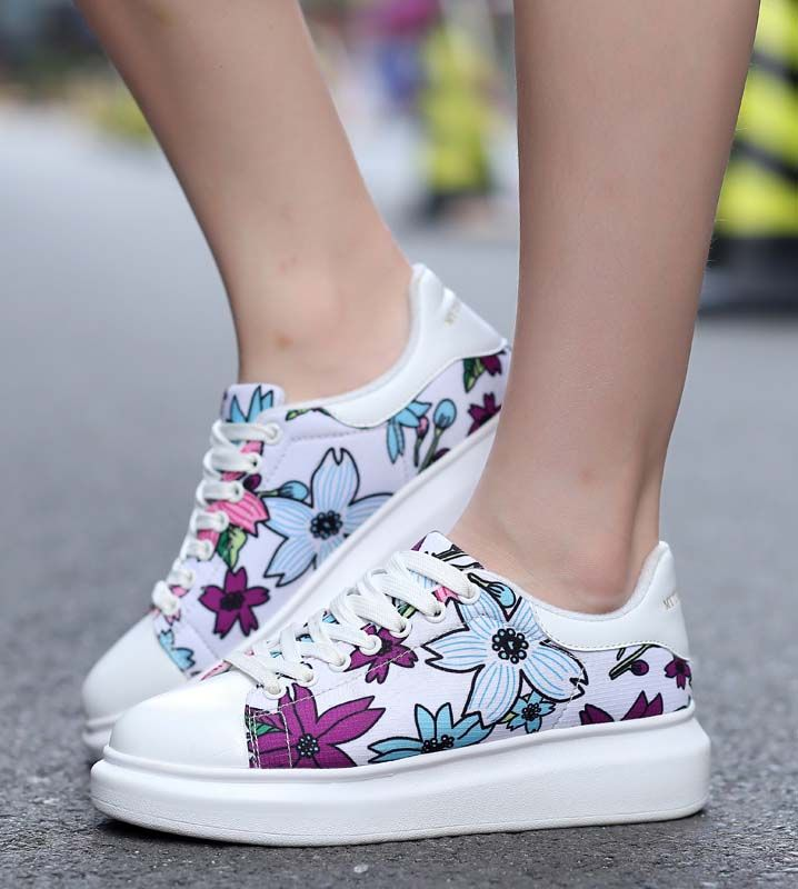 Womens Casual Sport  Platform Flower Printing Floral Creeper Canvas Sneaker Shoe