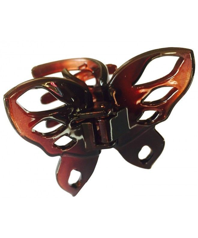 Parcelona France Belle Fleur Black N Shell Covered Spring Jaw Hair Claw Clip