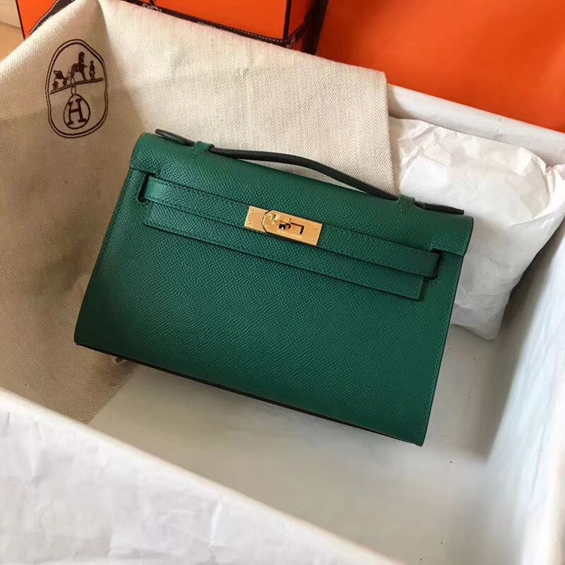 706feb1f2a Hermes Mini Kelly 22 Pochette Bag - Malachite EPSOM Calfskin 1 ...