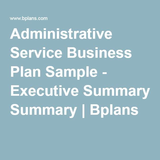 Administrative Service Business Plan Sample