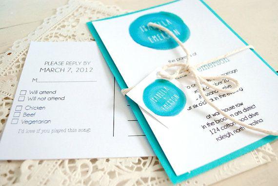 Teal Turquoise Wedding Invitation Diy Kit