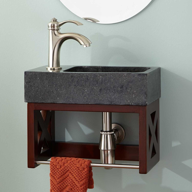 16 Ansel Mahogany Wall Mount Vanity With Towel Bar Stone Sink Bathroom Vanities Bathr Bathroom Vanity Designs Stone Bathroom Sink Marble Bathroom Vanity