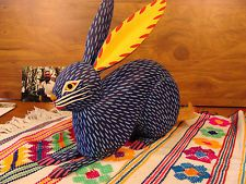 Rare Signed Oaxacan Wood Carving Manuel Jimenez Blue Rabbit Mexican Folk Art