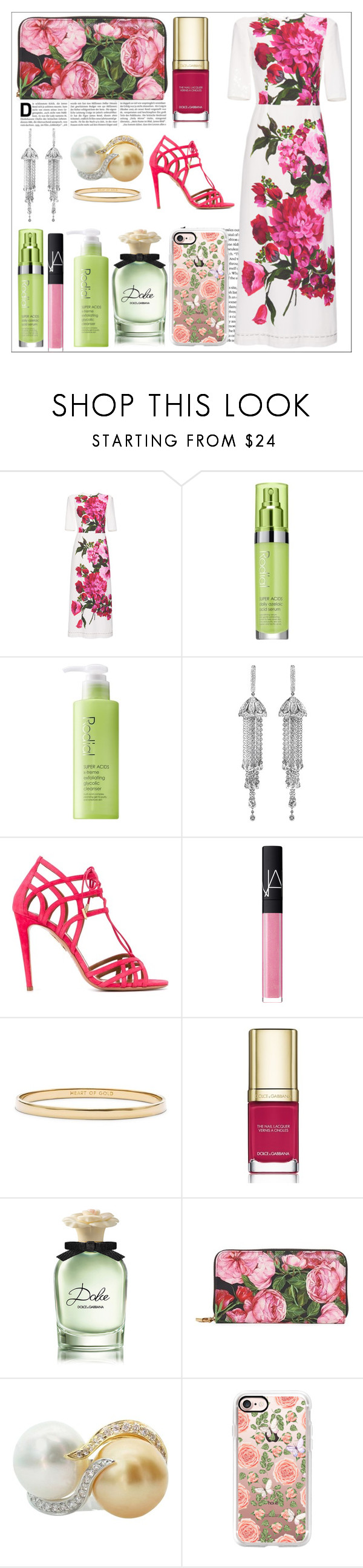 """Dolce & Gabbana"" by mkelly1 ❤ liked on Polyvore featuring Dolce&Gabbana, Rodial, Shay, Aquazzura, NARS Cosmetics, Kate Spade and Casetify"