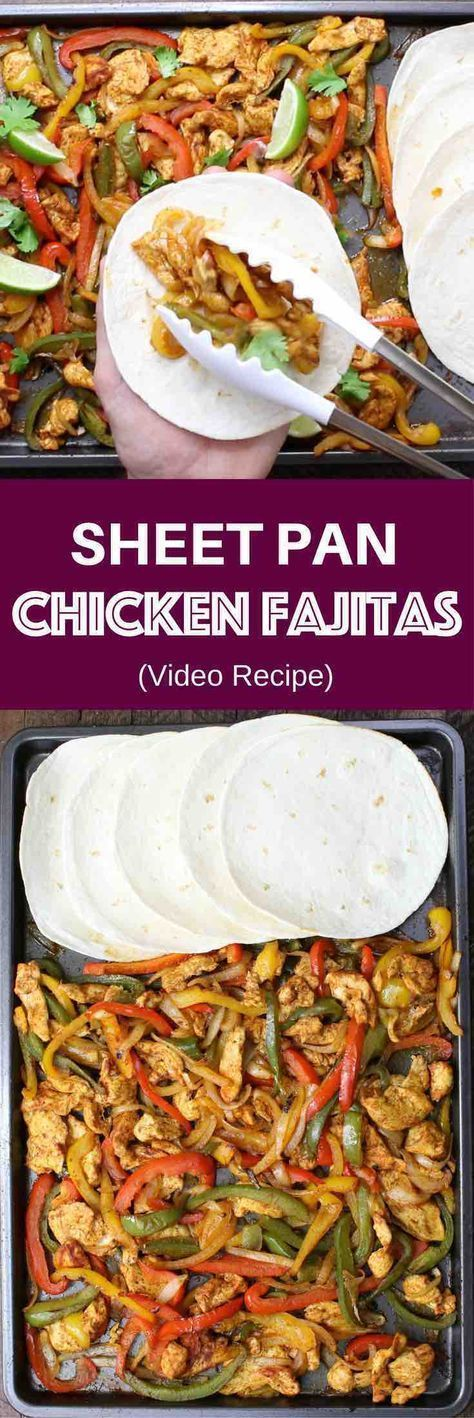Chicken Fajita – one of the easiest healthy dinner recipes. Yellow, red and green peppers, sliced onions and chicken breasts, mixed with some simple spices (ground cumin, chili powder, garlic powder, salt and olive oil). Perfectly baked in the oven, and served on flour tortillas. Simply Yummy! Make-ahead recipe. Quick and easy dinner recipe. | tipbuzz.com #greenpeppers