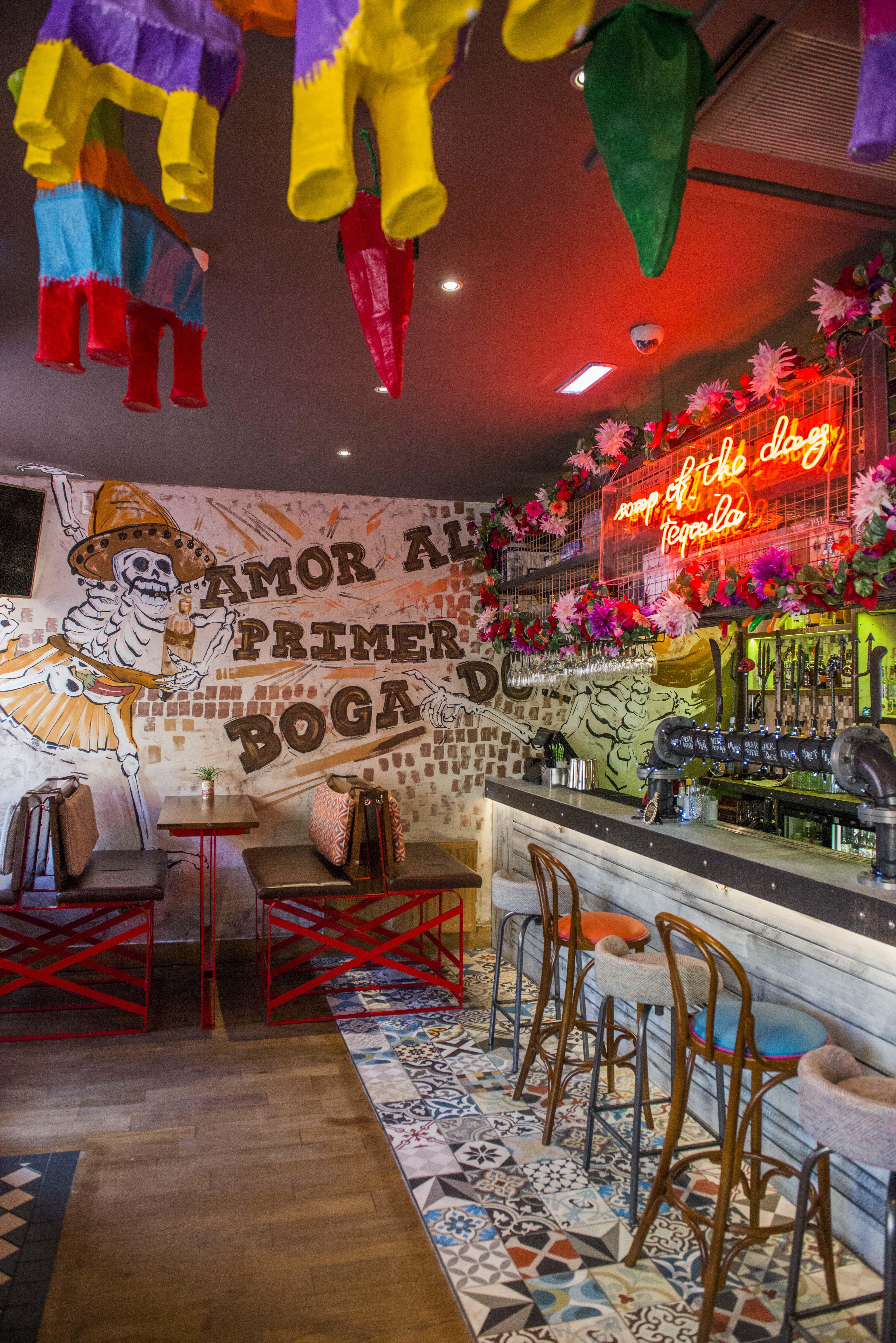 Pinata Ceiling Hung Colourful Mexican Bar Restaurant Cantina